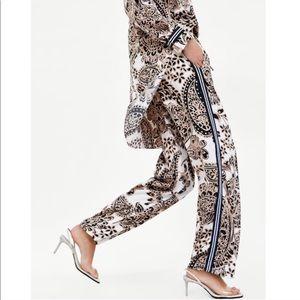 Zara satin print pants